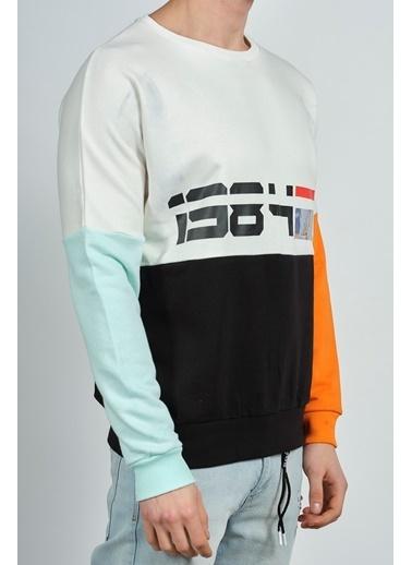 XHAN Gri Baskılı Kolları Bloklu Sweatshirt 1Kxe8-44285-03 Gri